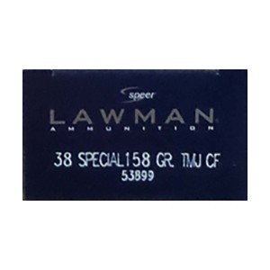 1000rds – 38 Special Speer Lawman 158gr. TMJ Ammo