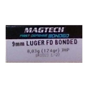 1000rds – 9mm Magtech First Defense 124gr. Bonded JHP Ammo