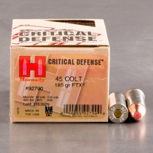 20rds - 45 Long Colt Hornady Critical Defense 185gr. FTX Ammo