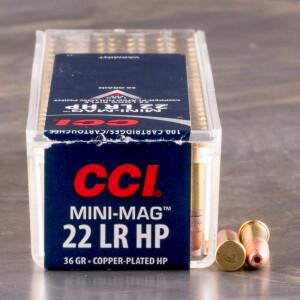 100rds - 22LR CCI Mini-Mag 36gr. Hollow Point Ammo