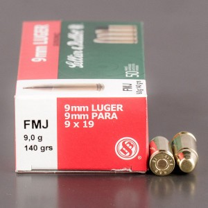 50rds - 9mm Sellier & Bellot 140gr Sub Sonic FMJ Ammo