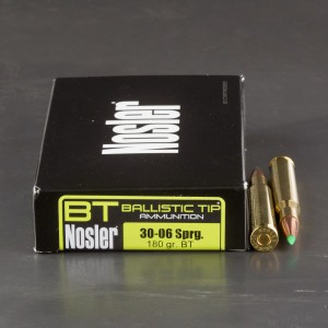 20rds - 30-06 Springfield Nosler 180gr. Ballistic Tip Hunting Ammo