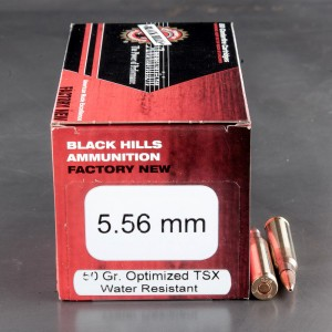 50rds - 5.56 Nato Black Hills Barnes TSX 50gr. Hollow Point Ammo