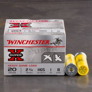 "25rds - 20 Gauge Winchester Super-X Heavy Game Load 2 3/4"" #8 Shot Ammo"