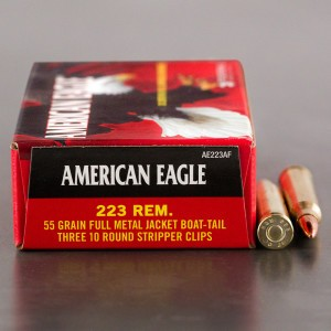 30rds - .223 Federal American Eagle AE223AF 55gr. FMJBT Ammo on Strippers