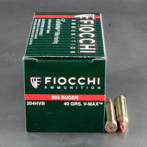 50rds - 204 Ruger Fiocchi 40gr. V-Max Polymer Tip Ammo