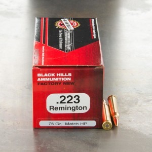 50rds - 223 Black Hills 75gr. Heavy Match Hollow Point Ammo
