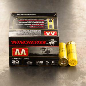 "250rds - 20 Gauge Winchester AA Target 2-3/4"" 7/8 oz. #8 Shot Ammo"