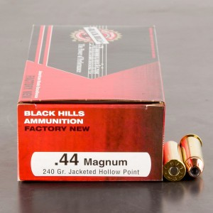 50rds - 44 Mag Black Hills 240gr. Jacketed Hollow Point Ammo