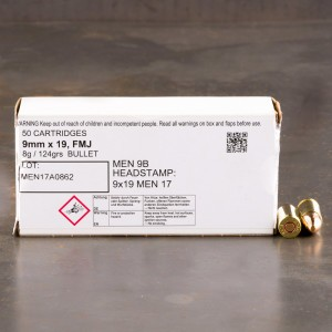 1000rds - 9mm MEN 124gr. FMJ Ammo