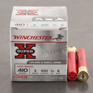 "25rds - 410 Gauge Winchester Super-X High Brass 3"" Max Dram 3/4oz. #6 Shot Ammo"