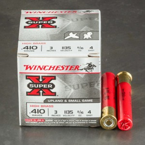 "25rds - 410 Gauge Winchester Super X High Brass 3"" Max Dram 11/16oz. #4 Shot Ammo"