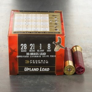 "25rds - 28 Gauge Federal Wing Shok Upland Hi Brass 2 3/4"" 3/4oz. #8 Shot Ammo"
