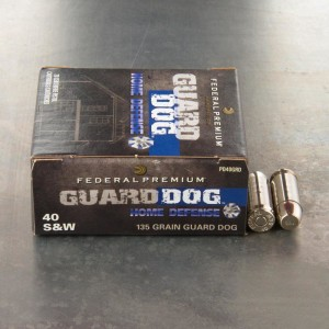 20rds - 40 S&W Federal Premium Guard Dog 135gr. EFMJ Ammo
