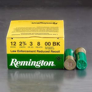 "250rds - 12 Gauge Remington Reduced Recoil LE 2 3/4"" 3 Dram 8 Pellet 00 Buckshot Ammo"