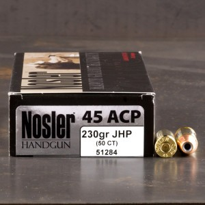 50rds - 45 ACP Nosler Match Grade Handgun 230gr. JHP Ammo