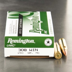 20rds – 308 Winchester Remington UMC 150gr. MC Ammo