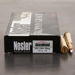 20rds - 300 H&H NoslerCustom Trophy Grade 180gr. Accubond Polymer Tip Ammo