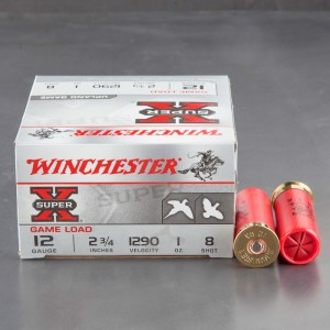 "25rds - 12 Gauge Winchester Super-X Game Loads 2 3/4"" 1oz. #8 Shot Ammo"