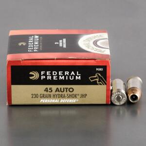 20rds - 45 ACP Federal Hydra-Shok 230gr. HP Ammo