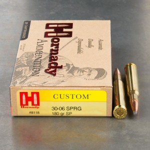 20rds - 30-06 Hornady Custom 180gr. Spire Point Ammo