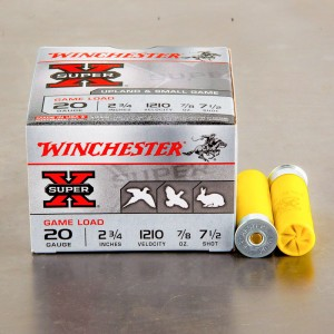 "25rds - 20 Gauge Winchester Super-X Game Load 2 3/4"" 7/8oz. #7 1/2 Shot Ammo"
