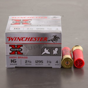 "25rds - 16 Gauge Winchester Super-X 2 3/4"" 1 1/8oz. #4 Shot Ammo"