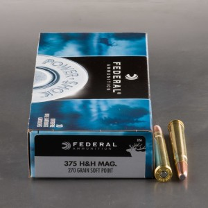 20rds - 375 H&H Mag Federal Power-Shok 270gr. Soft Point Ammo
