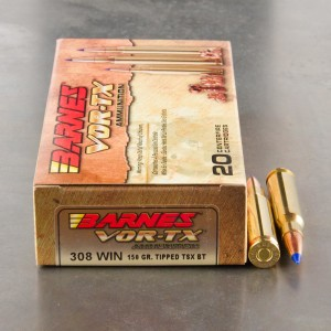 20rds - 308 Win. Barnes VOR-TX Polymer Tip 150gr. Tipped TSX Boattail Ammo
