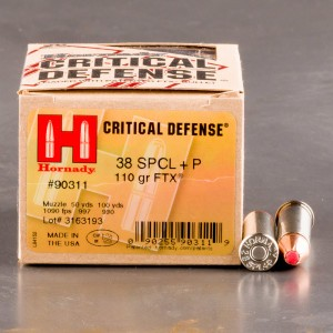 25rds - 38 Special Hornady Critical Defense 110gr.+P FTX HP Ammo