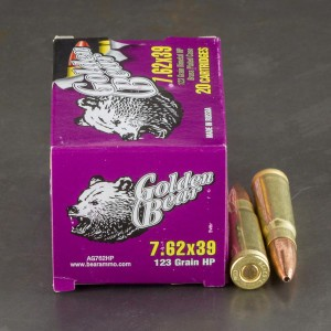20rds - 7.62x39 Golden Bear 123gr. Hollow Point Ammo