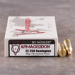 20rds - 22-250 Rem. Nosler Varmageddon 55gr. Flat Base Hollow Point Ammo