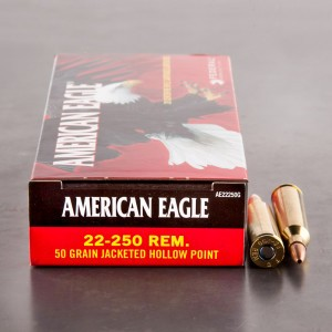 20rds - 22-250 Federal American Eagle 50gr. JHP Ammo