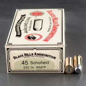 50rds - 45 Schofield Black Hills 230gr. New Seconds Round Nose Flat Point Ammo