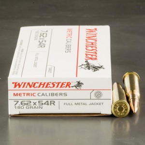 20rds - 7.62x54R Winchester USA 180gr. FMJ Ammo