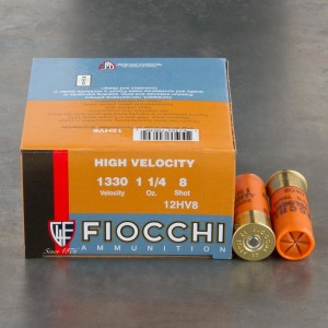 "25rds - 12 Gauge Fiocchi Optima Specific HV 2 3/4"" 1 1/4oz. #8 Shot Ammo"