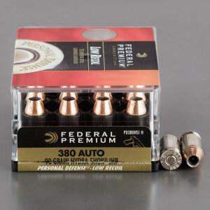 200rds - 380 Auto Federal Hydra-Shok 90gr. JHP Ammo