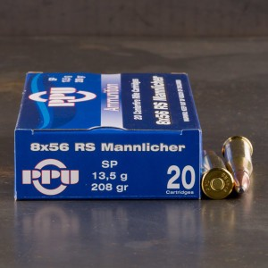 20rds - 8x56R Mannlicher Prvi Partizan 208gr. Soft Point Ammo
