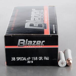 50rds - 38 Special CCI Blazer 158gr. +P TMJ Ammo