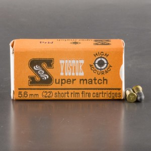 50rds - 22 Short Vostok Super Match 28gr. LRN Ammo