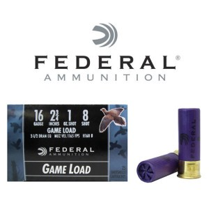 "250rds - 16 Gauge Federal Game-Shok 2 3/4"" 1oz. #8 Shot Ammo"