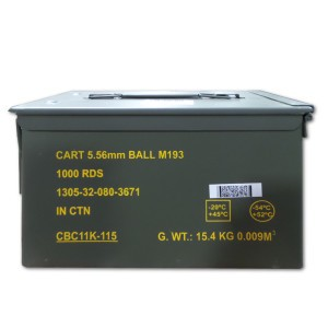 1000rds - 5.56x45mm Magtech/CBC 556MIL 55gr. FMJ Ammo in Can