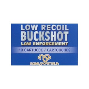 "10rds – 12 Gauge Nobel Sport Italia Law Enforcement Low Recoil 2-3/4"" 9-Pellet 00 Buckshot Ammo"