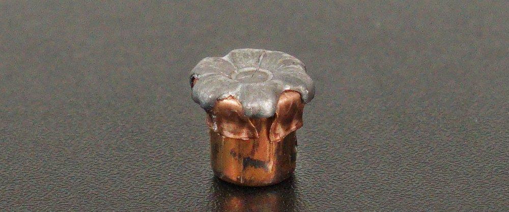 A fired Hornady Critical Duty FTX magnum bullet