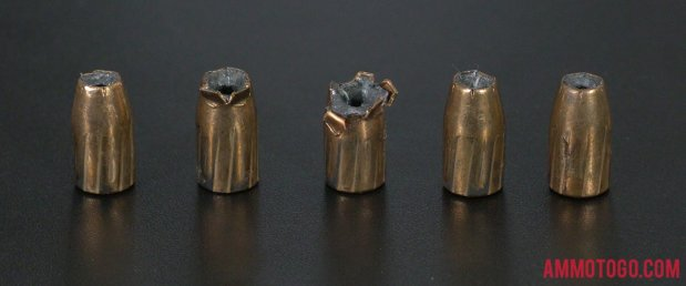 Fired rounds of Federal Ammunition 147 Grain 9mm Luger (9x19) Jacketed Hollow-Point (JHP) Ammo