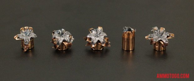Expanded bullets from fired Winchester Ammunition 40 Smith & Wesson 180 Grain Jacketed Hollow-Point (JHP) ammo