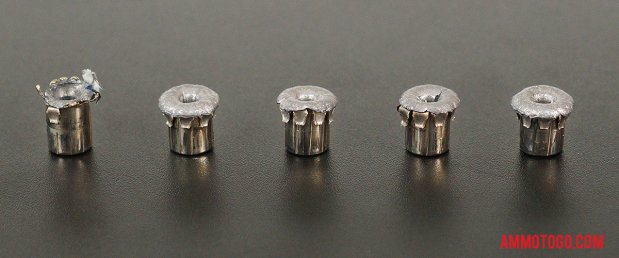 Top-down view of expanded Winchester Ammunition 38 Special 125 Grain Jacketed Hollow-Point (JHP) bullets