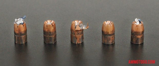 Expanded bullets from fired Winchester Ammunition 38 Special 130 Grain Jacketed Hollow-Point (JHP) ammo