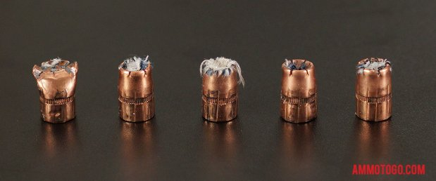 Expanded bullets from fired Speer 357 Magnum 125 Grain Jacketed Hollow-Point (JHP) ammo
