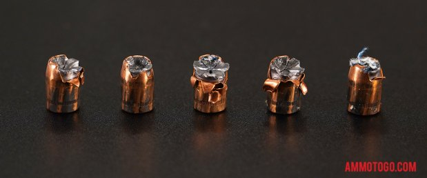 Top-down view of expanded Sig Sauer 10mm Auto 180 Grain Jacketed Hollow-Point (JHP) bullets